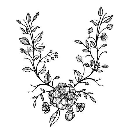 twigs: hand drawn vector floral frame with flowers and leaves, buds and twigs