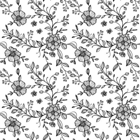 twigs: hand drawn vector seamless floral pattern with flowers and leaves, buds and twigs