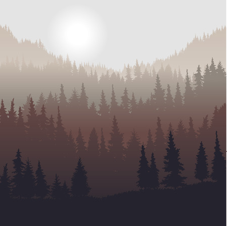 landscape with fir trees, forest background, hand drawn vector illustration