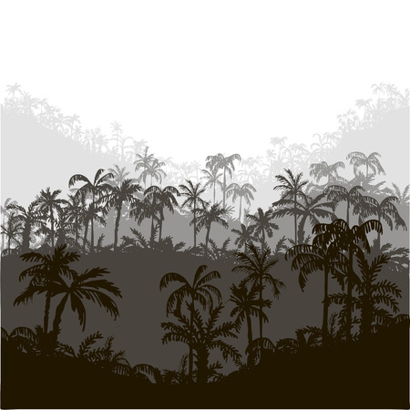 tree silhouettes: landscape with palm trees, abstract tropical background, hand drawn vector illustration Illustration
