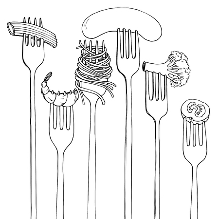 spaghetti: forks with foods, spaghetti,broccoli,sausage and shrimp, hand drawn vector illustration