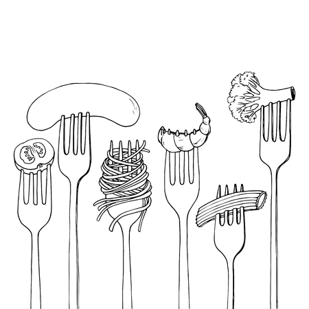 horquillas con alimentos, espaguetis, el brócoli, la salchicha y camarones, dibujado a mano ilustración vectorial Ilustración de vector