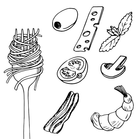 fork with spaghetti and different food pieces, hand drawn vector illustration Ilustracja