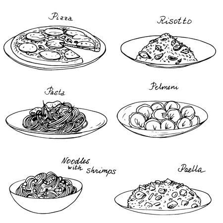 dishes set: National dishes set, ink drawing, hand drawn vector illustration