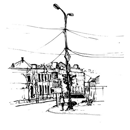crossroad: urban sketch, crossroad with street lamps and road signs, hand drawn vector illustration Illustration