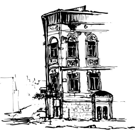 urban sketch, city building,hand drawn vector illustration