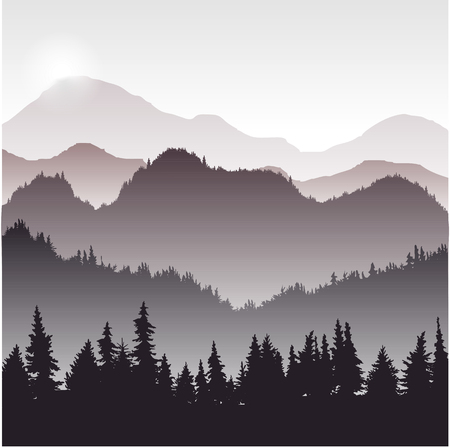 larch: landscape with fir trees, forest background, hand drawn vector illustration