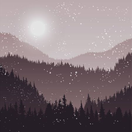 snow forest: landscape with fir trees and snow, forest background, hand drawn vector illustration