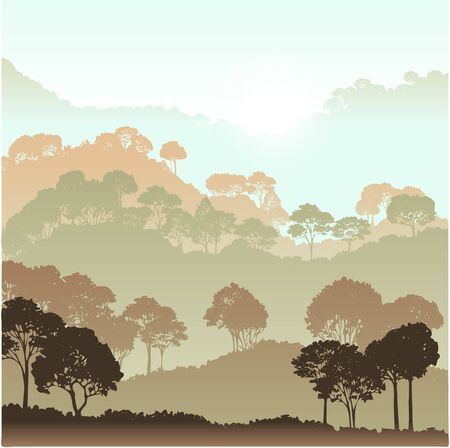 paisaje con árboles, los bosques de fondo, ilustración vectorial dibujado a mano