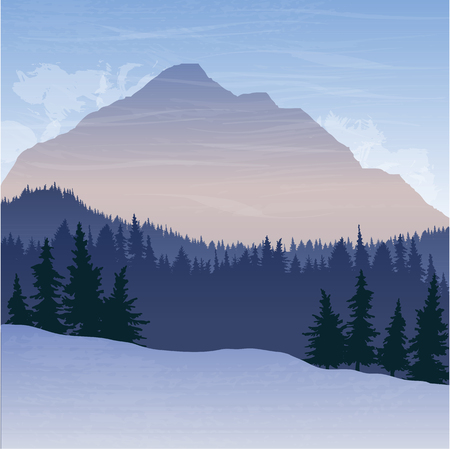 larch: mountain landscape with fir trees, forest background, hand drawn vector illustration