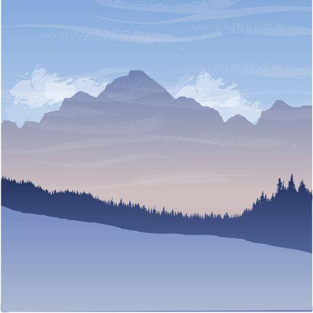 paysage de montagne avec des sapins, fond de forêt, dessinés à la main illustration vectorielle