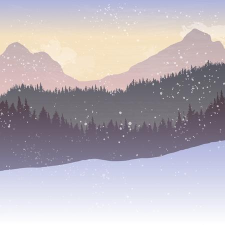 paysage de montagne avec des sapins et de la neige, forêt fond, dessiné à la main illustration vectorielle