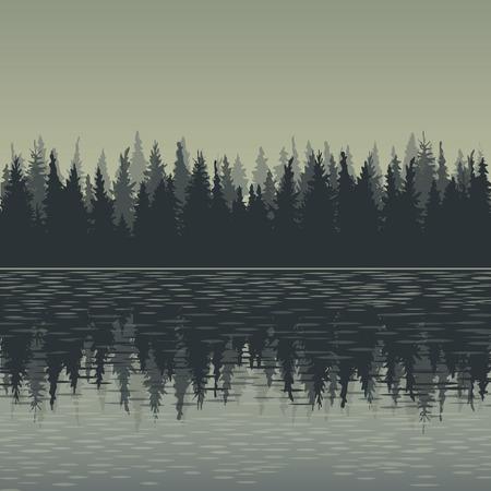 モミの木と水、森の背景風景、手描きの背景イラスト  イラスト・ベクター素材