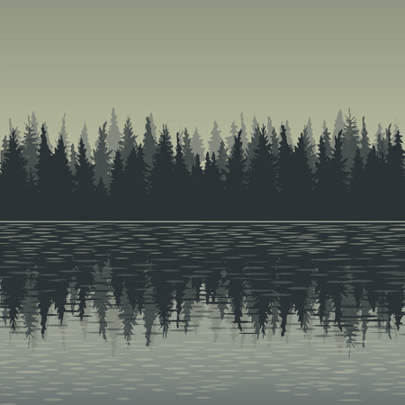 landscape with fir trees and water, forest background, hand drawn vector illustration Reklamní fotografie - 51512740
