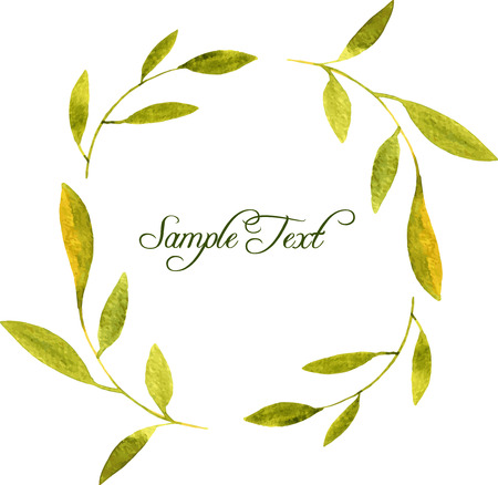 green branches: round wreath with watercolor green branches and leaves, floral frame,hand drawn template
