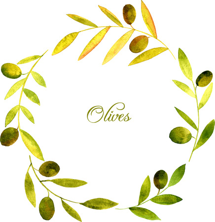 round wreath with watercolor green branches of olives, floral frame,hand drawn template Illustration