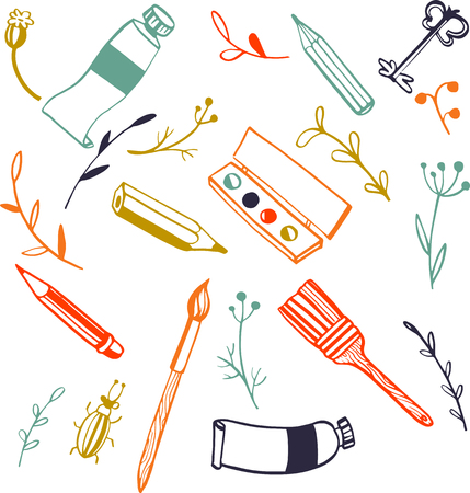 art materials: doodle art materials set,  tubes of paint, brushes and pencils, hand drawn vector illustration