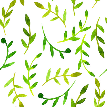 vector watercolor seamless pattern with leaves, hand drawn vector background
