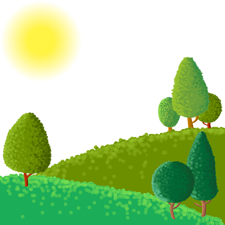 vector paisaje abstracto con sol árboles hormiga, ilustración vectorial dibujado a mano