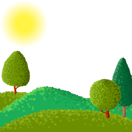 copse: abstract vector landscape with sun ant trees, hand drawn vector illustration