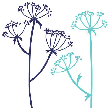 plantas de eneldo, composición floral con plantas silvestres, dibujo tarjeta de flores, ilustración vectorial dibujado a mano