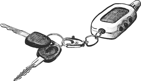 remote lock: sketch of car keys with remote conntrole, hand drawn vector illustration