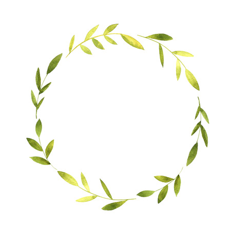 round wreath with watercolor green branches and leaves, floral frame,hand drawn template