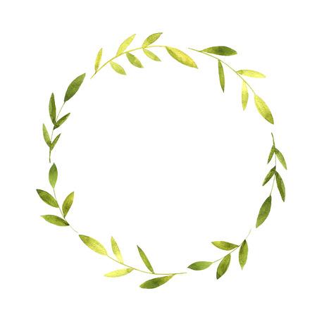 round krans met aquarel groene takken en bladeren, bloemen kader, met de hand getekend template Stockfoto