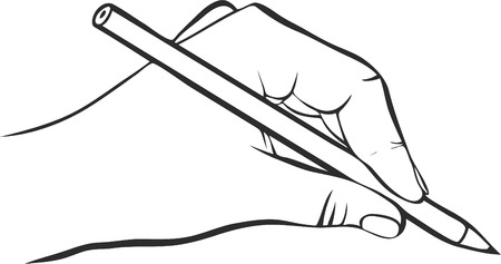 left hand: writing hand with pencil, drawing left hand, hand drawn vector icon