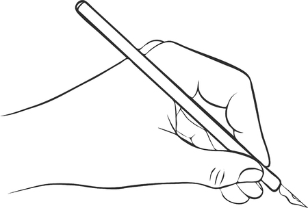 hand writing: writing hand with ink pen, drawing left hand, hand drawn vector icon