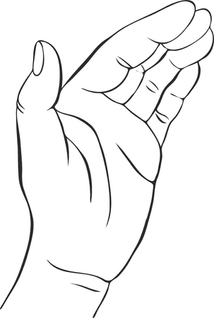 hand palm: hand with open palm, hand drawn vector illustration,guardian, safety sign