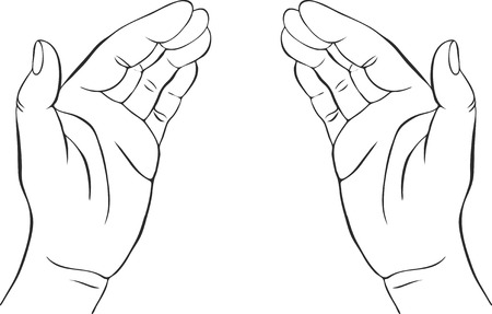 two hands with open palms, hand drawn vector illustration,guardian, safety sign  イラスト・ベクター素材