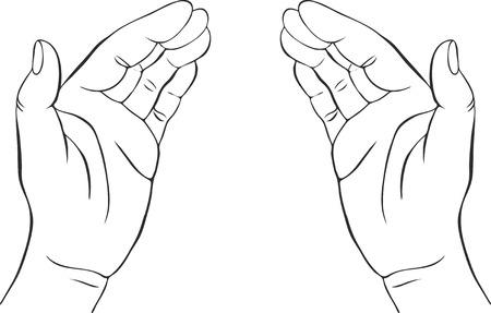 deux mains avec les paumes ouvertes, dessinés à la main illustration vectorielle, tuteur, signe de la sécurité