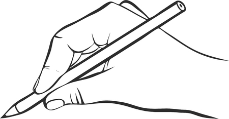 writing hand with pencil, drawing right hand, hand drawn vector icon Stock Vector - 53209781