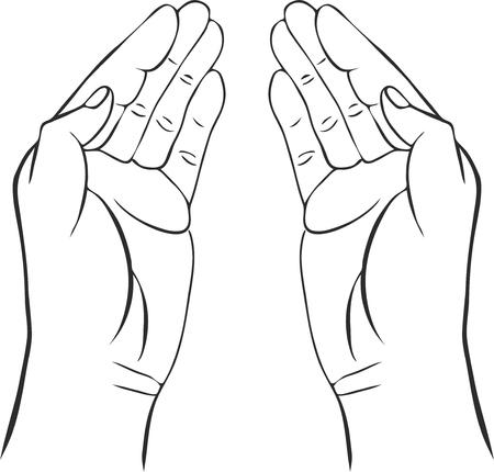 Due mani con le palme aperte, disegnata a mano illustrazione vettoriale, custode, segno della sicurezza Archivio Fotografico - 53218758