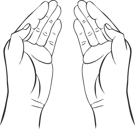 caretaker: two hands with open palms, hand drawn vector illustration,guardian, safety sign Illustration