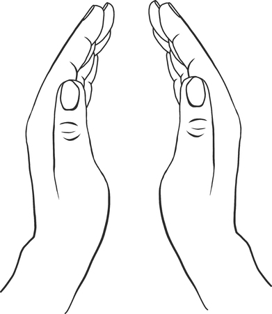 zwei Hände mit offenen Handflächen, von Hand gezeichnet Vektor-Illustration, Wächter, Sicherheitszeichen