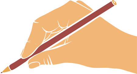hand pencil: writing hand with pencil, drawing right hand, hand drawn vector icon Illustration