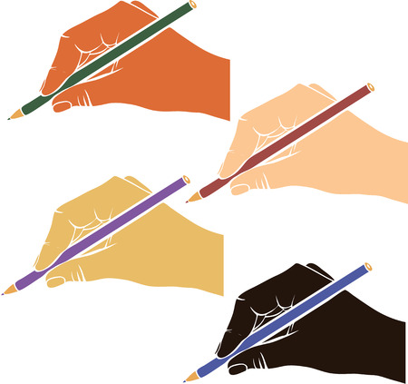 skin color: writing hand with pencil from different race, hands with colored skin, drawing right hands, hand drawn vector icon