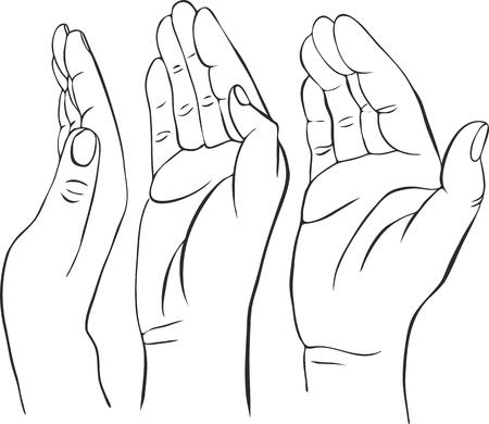 drei Hände mit offenen Handflächen, von Hand gezeichnet Vektor-Illustration, Wächter, Sicherheitszeichen