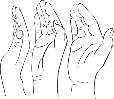 three hands: three hands with open palms, hand drawn vector illustration,guardian, safety sign