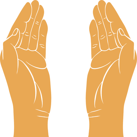 guardian: two hands with open palms, hand drawn vector illustration,guardian, safety sign Illustration