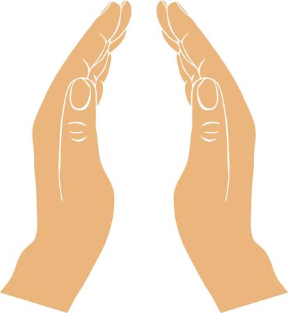 zwei Hände mit offenen Handflächen, von Hand gezeichnet Vektor-Illustration, Wächter, Sicherheitszeichen Vektorgrafik
