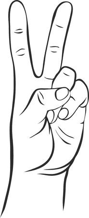 dedos: línea de dibujo a mano con dos dedos, símbolo de la victoria, icono del vector Vectores