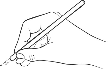 writing hand with ink pen, drawing right hand, hand drawn vector icon