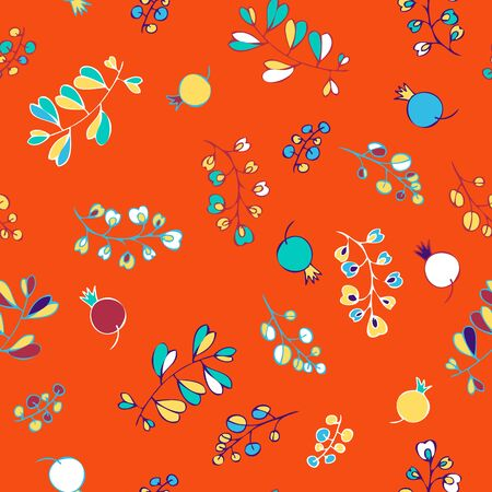 twigs: abstract vector seamless pattern with leaves and berries, autumn twigs, hand drawn vector background