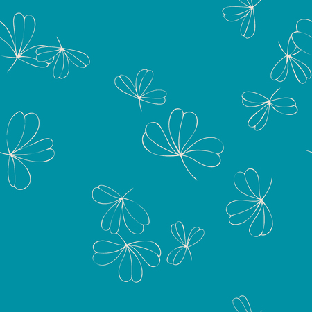 shamrock seamless: abstract vector seamless pattern with trefoils, shamrock leaves, leaves of clover, hand drawn vector background