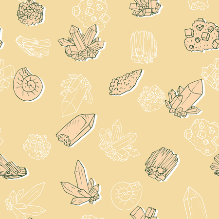 vector seamless pattern with minerals, hand drawn vector illustration