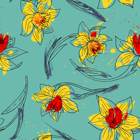 jonquil: vector watercolor floral seamless pattern with narcissus, hand drawn vector background