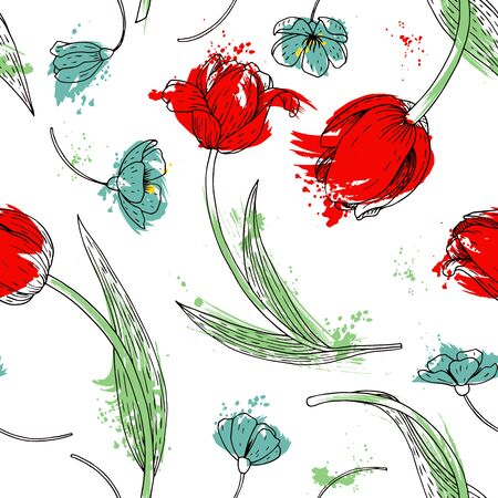 vintage design: vector watercolor floral seamless pattern with tulips, hand drawn vector background